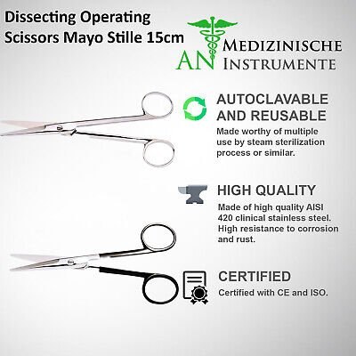Dissecting Operating Scissors Mayo Stille 15cm Straight Fine Quality Instruments