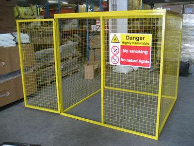 Gas Bottle Storage Cage - 1.8m x 1.8m x 1.8m Gas Cage c/w Highly Flammable Sign
