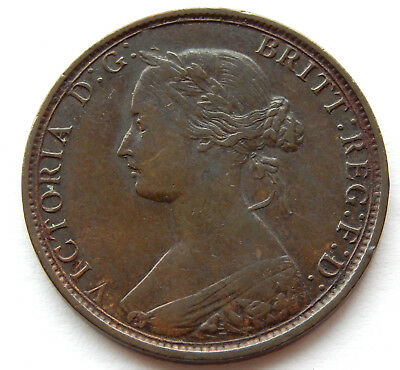 """1862 UK / Great Britain 1/2 Penny Coin  KM#748.2 """"Higher Grade Coin""""  SB5372"""