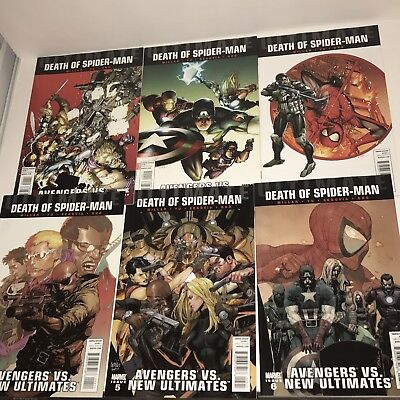 Death Of Spider-Man Avengers Vs. New Ultimates Issues 1-6 Millar Yu Gho