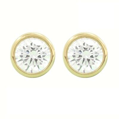 1 Ct Round Cut Diamond Earrings Studs Solid 14K Yellow Gold Bezel Screw Back