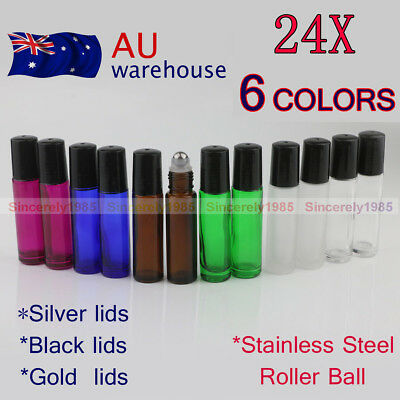 12X~216X 10ml THICK Glass Roll On Bottles 6 Colors Steel Roller Essential Oils