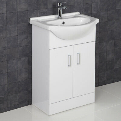 550mm Bathroom Vanity Unit & Basin Sink Floorstanding Gloss White Tap and Waste