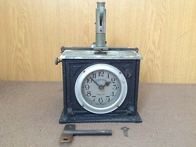 "Vintage Cast Iron ""blick"" Universal Time Recorder Clock."