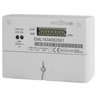 Emlite ECA2MID Single Phase Digital kWh Electricity Meter 100A Direct Connected