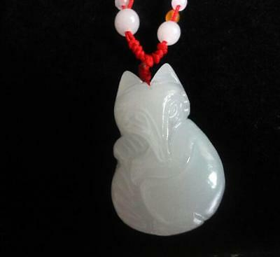 Natural carved Calcite jade Chinese Fox pet pendants necklace white jade Amulet