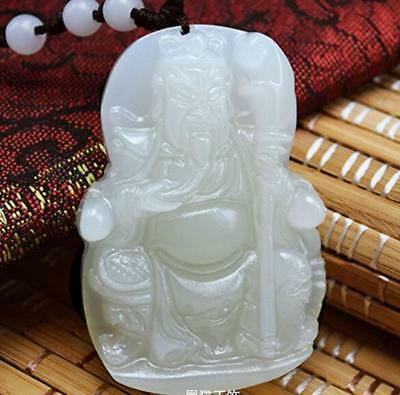 Natural carved Calcite jade Chinese Guan yu pendants necklace white jade