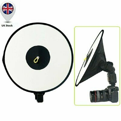 Round Beauty Dish Collapsible Softbox for External Camera Hot Shoe Flash UK