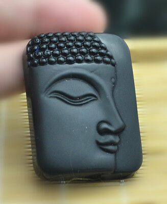 Black Natural Obsidian Carved Buddha Guanyi pendant Clothing accessories Jewelry