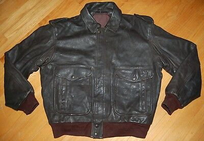 Vintage OLD BROWN Type A-2 Heavy Duty Leather FLIGHT Bomber Jacket Size L