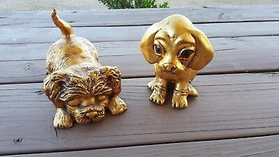 Two collectible Vintage Gold Leaf Dog Statues figurine rare Signed R.Ketrick
