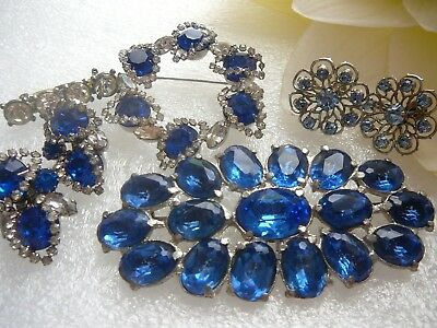Vintage/ Antique Jewelry Lot-Large Blue Rhinestone Brooch- 1 Set With Earrings