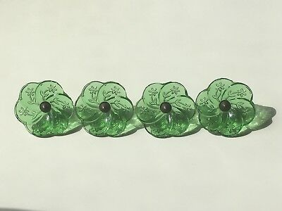Antique Glass Curtain Tie Backs Green Floral Set Of Four
