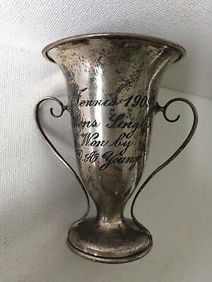 Antique Sterling Silver Tennis Trophy - Men's Singles Won By D.A. Young - 1909