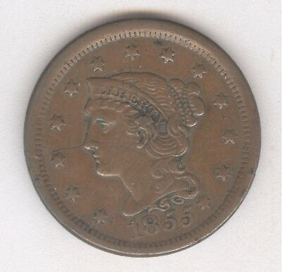 1855 Braided Hair Large Cent + Nice Circ + No Reserve!