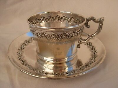 ANTIQUE FRENCH STERLING SILVER TEA CUP & SAUCER,LOUIS 15 STYLE,19th CENTURY.