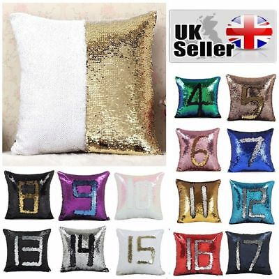 Mermaid Glitter Sequins Pillow Cover Case for Home Car Sofa Decor Cushion Covers