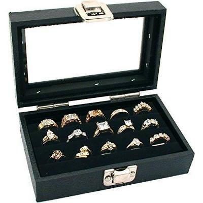 FindingKing 3 Row Ring Jewelry Display/Storage Glass Top Wood New