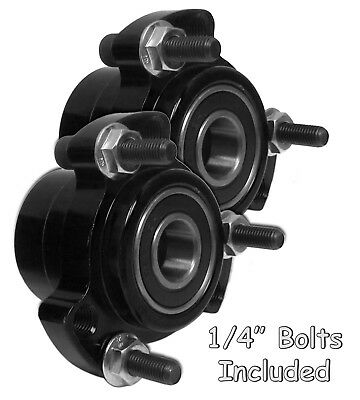 "Set of 2 Black Front Wheel Hub 5/8 Bearing Race Go Kart Drift Trike, 1/4"" Bolts"