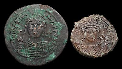 Lot of 2 uncleaned Byzantine follis, Justinian (40mm) and Maurice Tiberius, 29mm
