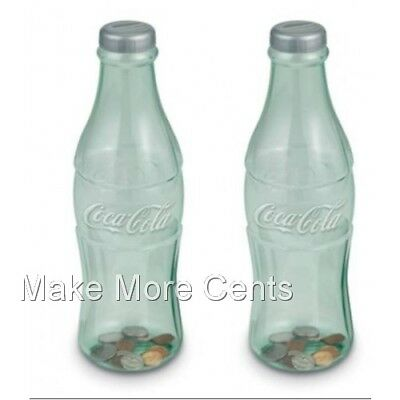 Coke Coca-Cola Coin Bottle Banks - Pack of 2  - Made in USA - FREE SHIPPING