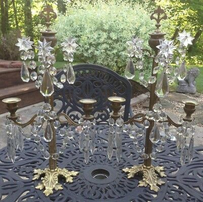 Pair Of Antique Ornate Brass/bronze Candle Holders With Crystal Prisms And Cover