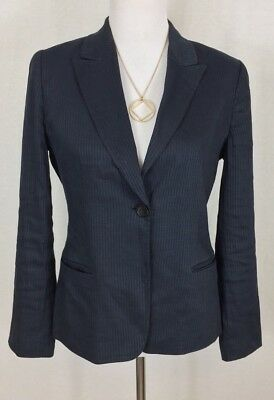 0150f994c35c4 Elie Tahari Linen Blazer Jacket Blue Career Teacher Designer Size 10 Runs  SMALL!