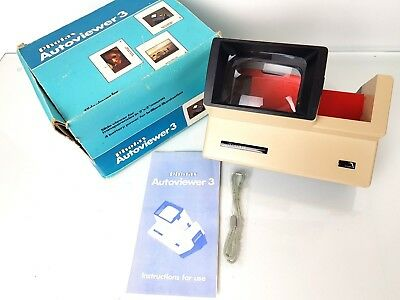 PHOTAX AUTOVIEWER 3, 35mm FILM SLIDE VIEWER IN ORIGINAL BOX AND MANUAL,  WORKING