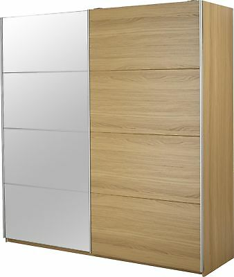 NEW Tesco Smith 2 Door Extra Wide Sliding Mirrored Double Wardrobe - Oak Effect