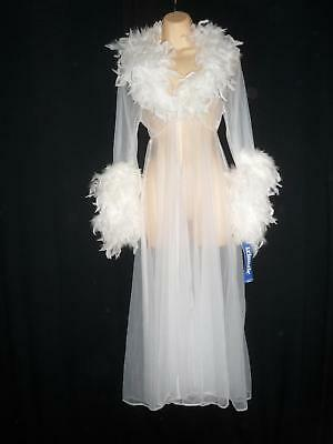 NEW Vtg CHIFFON MARABOU FEATHERS PEIGNOIR ROBE White Sheer See thru M Medium L