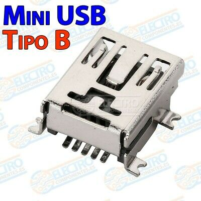 Conector Mini USB Tipo B Hembra soldar SMD - Lote 1 unidad - Arduino Electronica