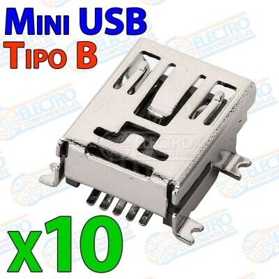 Conector Mini USB Tipo B Hembra soldar SMD - Lote 10 unidades - Arduino Electron