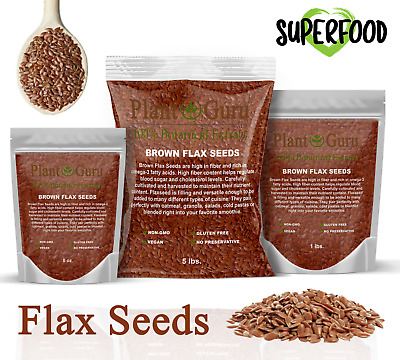 Flax Seeds Whole Brown Grain Organic Flaxseed NON GMO Linseed  1/2 oz to Bulk