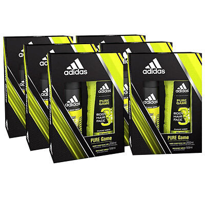 23cdb76fbae0 6 Pack Adidas Pure Game 2 Piece Set Men Deo Body Spray 150 ML Shower Gel