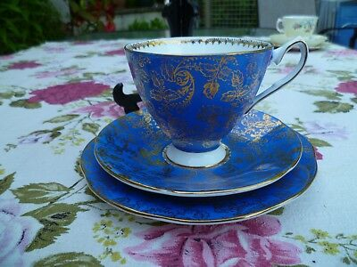 Lovely Elizabethan English China Trio Tea Cup Saucer Plate Blue Gilded 5222