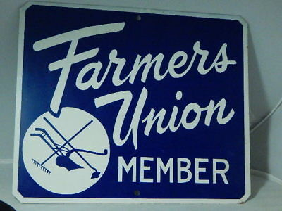 Vtg 1950's Farmers Union Member Embossed Metal Double Sided Sign-Advertising