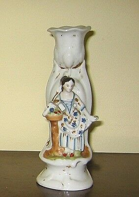 Old Paris style China  FIGURINE CANDLESTICK - FGC girl fruit seller 7.5in c1860?