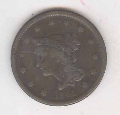 1841 Braided Hair Large Cent + Nice Circ + No Reserve!