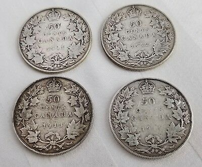 Lot of Canada 1911 1912 1913 1914 (Key Date) Fifty Cents (50 cents) Silver