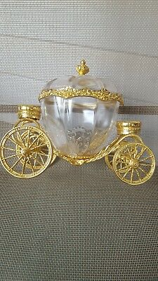 Vintage Franklin Mint 24K Gold Plated Cinderella Carriage Crystal Trinket Box