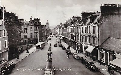 Hawick - High Street & 1514 Memorial - Lovely Real Photo By Valentine's 1963