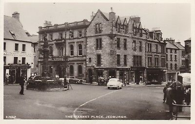 Jedburgh - The Market Place & Old Cars - Real Photo By White Of Dundee