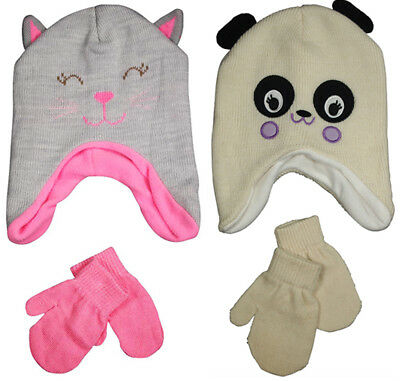 Winter Warm Up Toddler Girls 2 - 4 Fleece Lined Double Knit Hat & Mittens Set