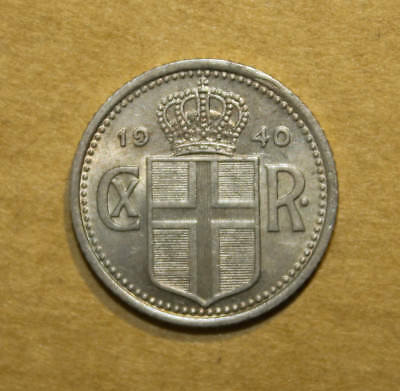 Iceland 10 Ore 1940 Uncirculated Coin - King Christian X
