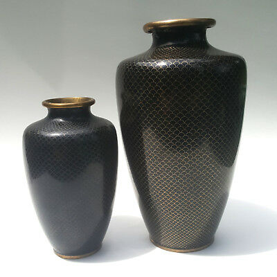 PAIR of Antique BLACK AMETHYST QING to REPUBLIC CHINESE CLOISONNE Brass VASES