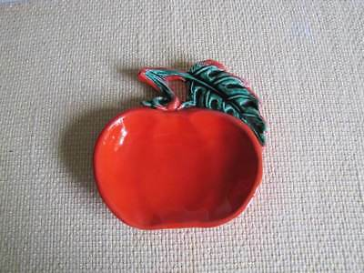 Vintage ​USA ​VF 66 California Pottery Red Apple Glazed Ceramic Spoon Rest