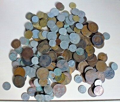 Job Lot Of Old British Coins + some world coins 1.26 kg/1260 grams