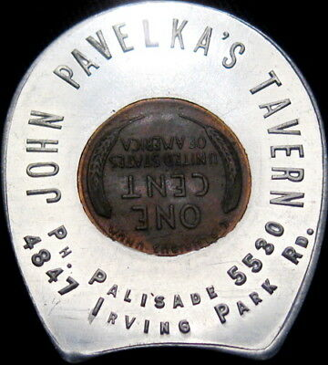 1946 Encased Indian Head Cent Chicago Illinois Pavelka's Tavern Irving Park