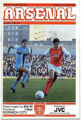 Arsenal V Norwich City 1981-82 fL Cup 3rd round