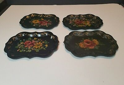 4 Vintage hand painted toleware tole tray floral small scalloped edge 7 3/4 Inch